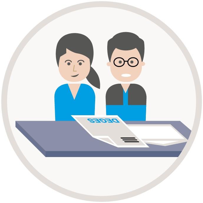 Illustration, eine Frau und ein Mann schauen auf DEGES-Unterlagen