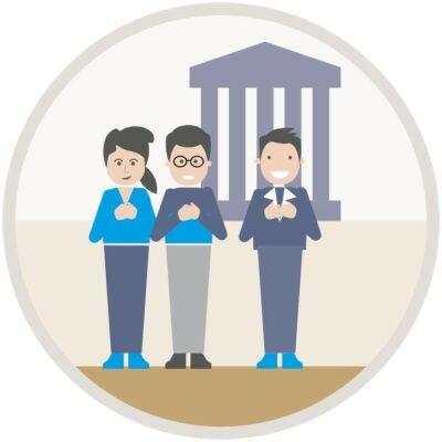 Illustration, Menschen vor Gerichtsgebäude