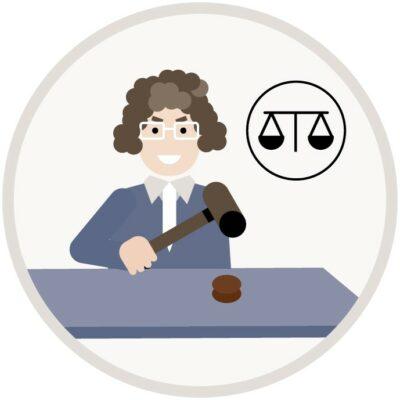 Illustration, Richterin schlägt mit dem Hammer auf den Tisch