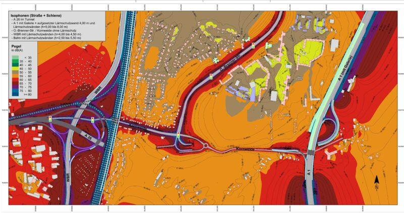 Lärmbelastung 2030 im südlichen Wilhelmsburg mit A 26. Lärmbelastungen sind mit Ansicht des Autobahndreiecks an der A 1 mit Galerie dunklen Farbtönen (rot, lila und blau) dargestellt. Der Grenzwert in Wohngebieten am Tag liegt bei 59 dB(A)