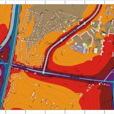 Lärmbelastung 2030 im südlichen Wilhelmsburg ohne A 26. Lärmbelastungen sind mit dunklen Farbtönen (rot, lila und blau) dargestellt. Der Grenzwert in Wohngebieten am Tag liegt bei 59 dB(A)