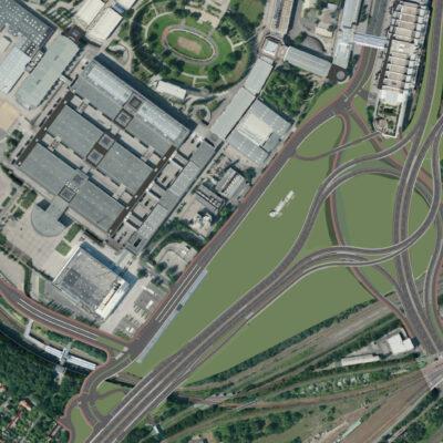 Vorzugsvariante für den Umbau des Autobahndreiecks Funkturm | Ansicht aus dem 3D-Modell | Draufsicht ohne Beschriftung