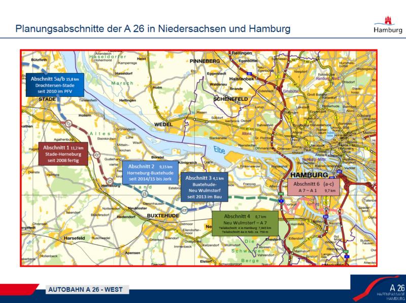 Planungsabschnitte der A 25 um Überblick