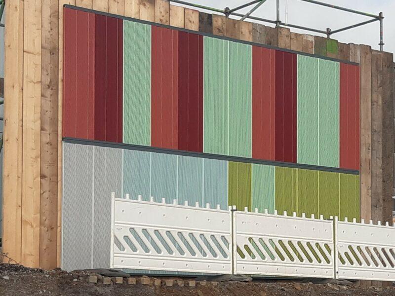Muster der Verkleidung für die Lärmschutzwände an der neuen A 40 in Dortmund