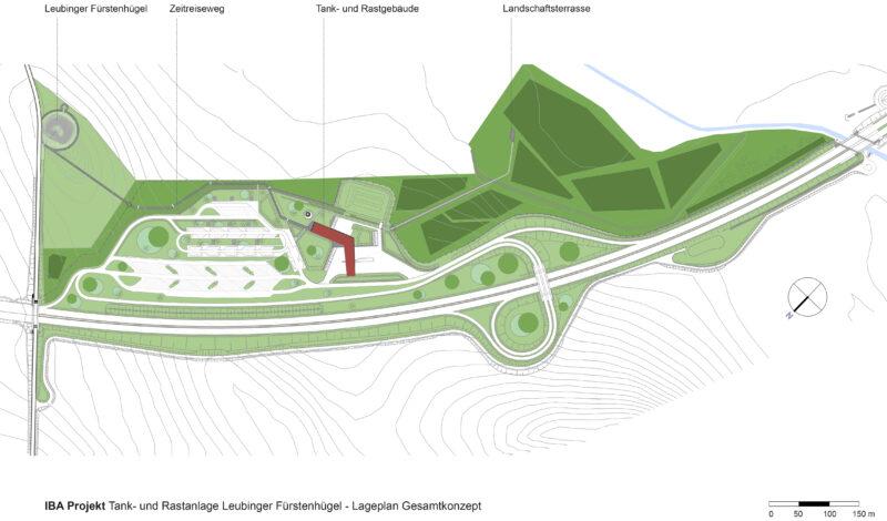 """Gesamtkonzept der Tank- und Rastanlage """"Leubinger Fürstenhügel"""""""
