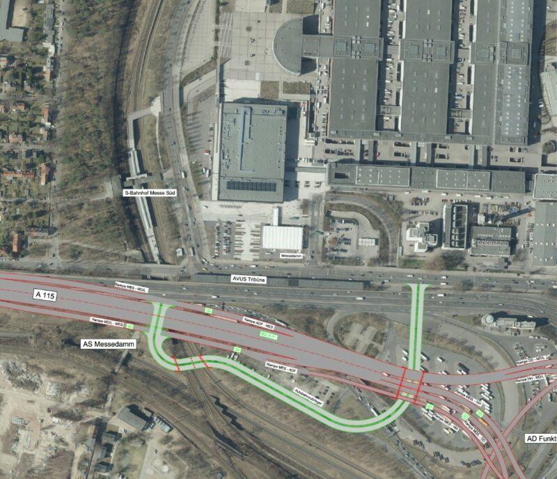 Karte mit Alternativvariante Autobahndreieck Funkturm