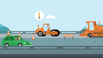 Screenshot Video Warum arbeitet niemand auf Autobahnbaustellen im Illustrationsstil - grünes Auto fährt vor Baustelle entlang