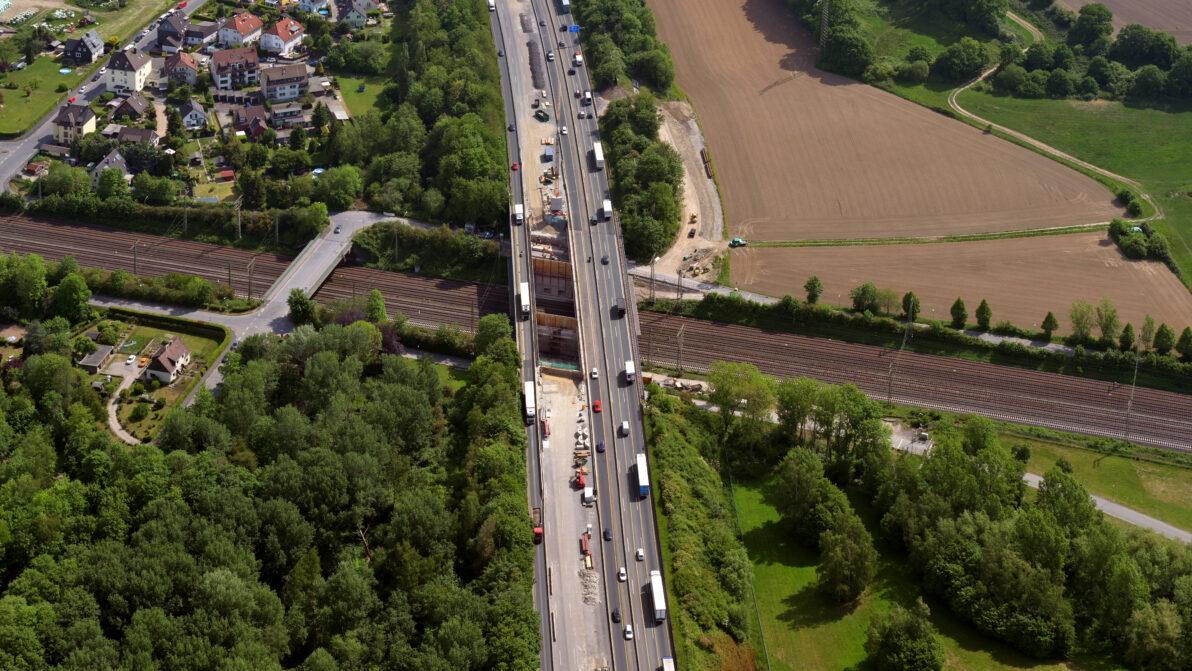 Luftaufnahme der Brücke Hengstey