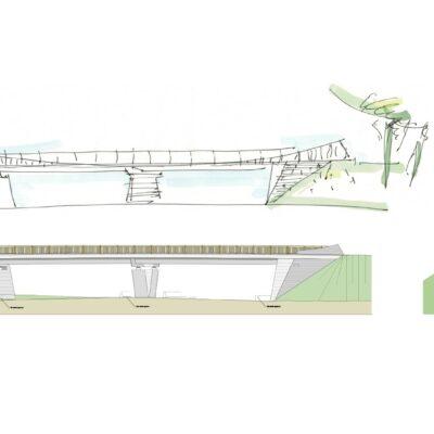 Gestaltungsentwurf der Lärmschutzwände aus Beton, Aluminium und Glas A 1/A 30 (ÖPP)
