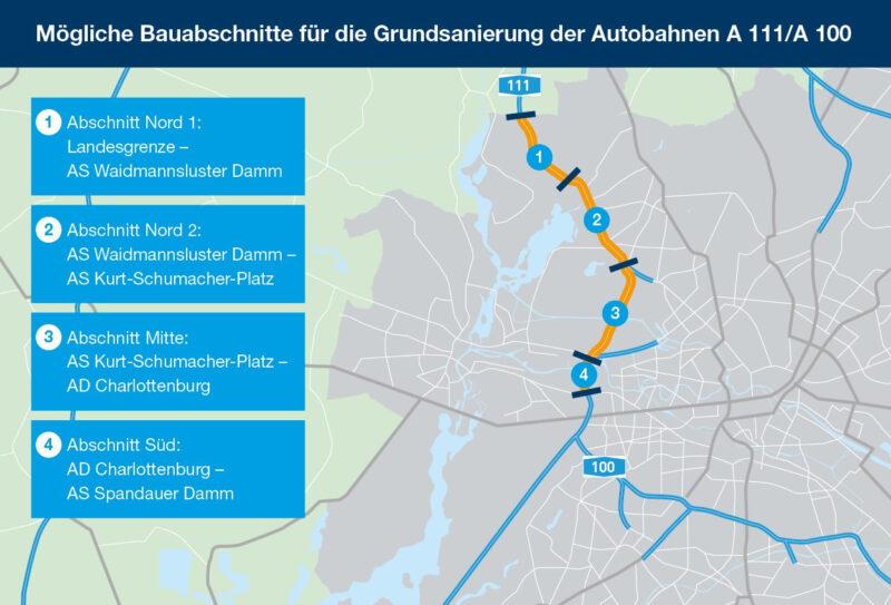 Mögliche Bauabschnitte für die Grundsanierung der Autobahn A 111_A 100