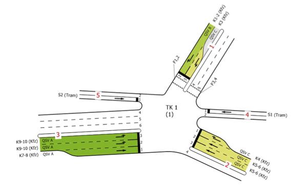Mögliche Ausgestaltung der künftigen Ausfädelung der B 87alt in die B 87n