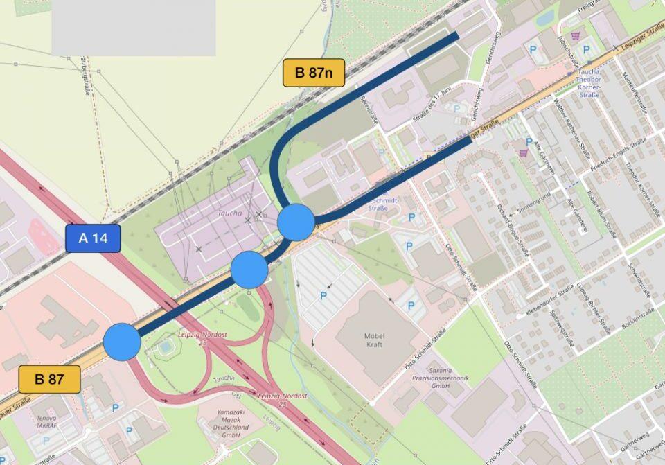 B 87n: Grafik zur Anschlussstelle Leipzip Nordost