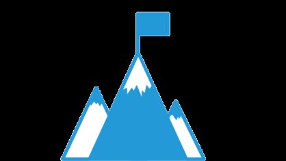 Eine Grafik mit drei Bergen hintereinander und einer Fahne auf der Spitze