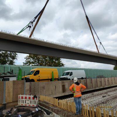 Einhub der Träger der Brücke Hengstey Anfang September 2020