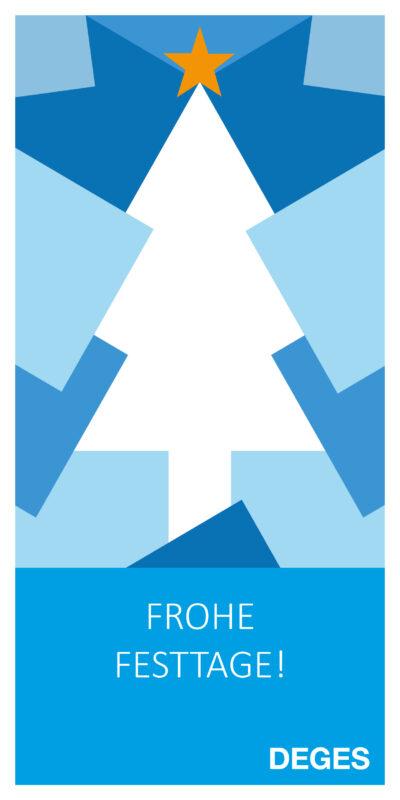 Weihnachtskarte 2020 mit stilisiertem Weihnachtsbaum in blau und weiß