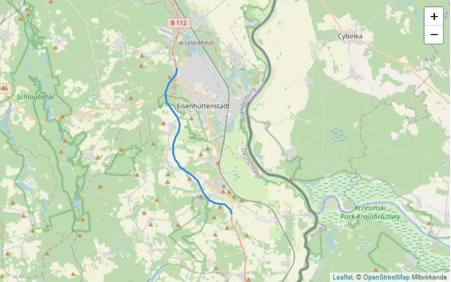 Die Linie zeigt den geplanten Verlauf der Ortsumgehung B 112 Eisenhüttenstadt/Neuzelle.