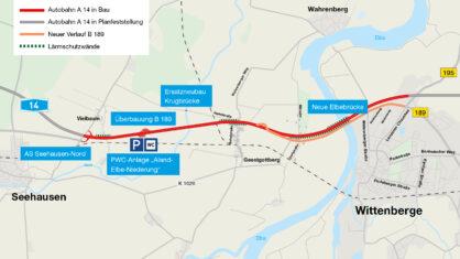 Verlauf und Details der A 14 im Abschnitt zwischen Seehausen-Nord und Wittenberg