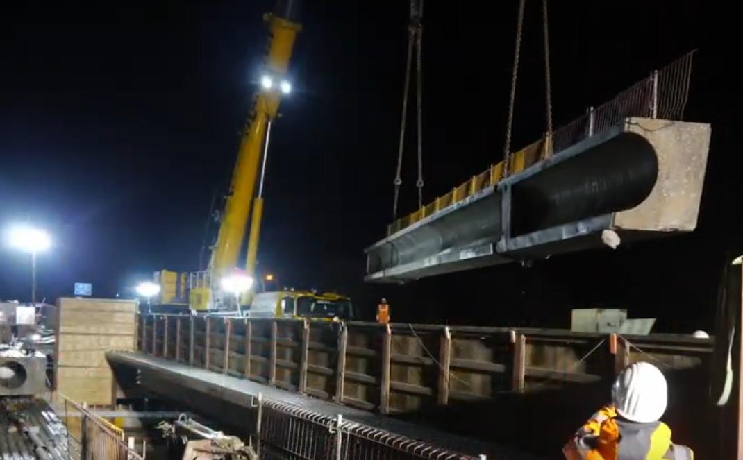 Ausschnitt des VIdeos zum Abbruch des äußeren Brückenteils der Brücke Hengstey