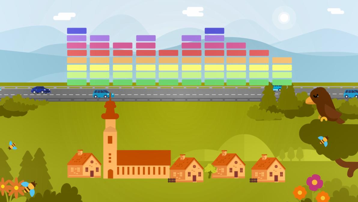 Lärmschutzmaßnahmen Video Standbild im Vordergrund Häuser, im Hintergrund Autobahn, darüber Equalizer Ausschlag Schall