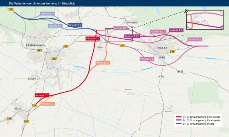 Die Linien zeigen die verschiedenen Varianten der geplanten Ortsumgehungen, die durch die DEGES im Rahmen der Linienbestimmung geprüft und abgewogen wurden. Bildnachweis: Johanssen + Kretschmer
