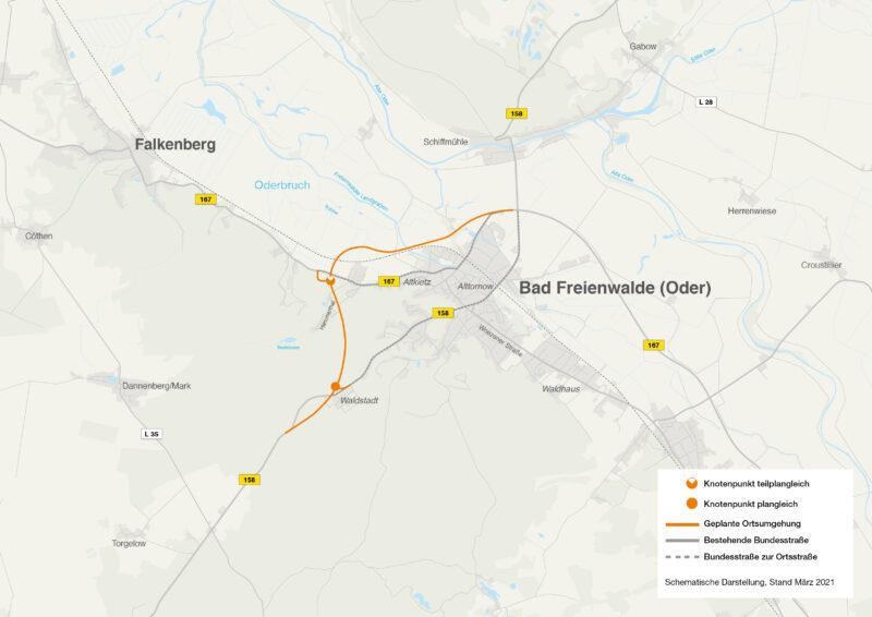Die Linie zeigt den geplanten Verlauf der Ortsumgehung B 167 Bad Freienwalde. | Bildnachweis: DEGES