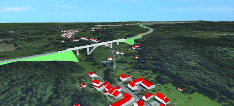Visualisierungsentwurf Brücke über das Dorchetal