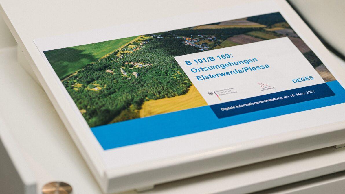 Der Titel der Präsentation für die Infoveranstaltung zu den Ortsumgehungen Elsterwerda / Plessa