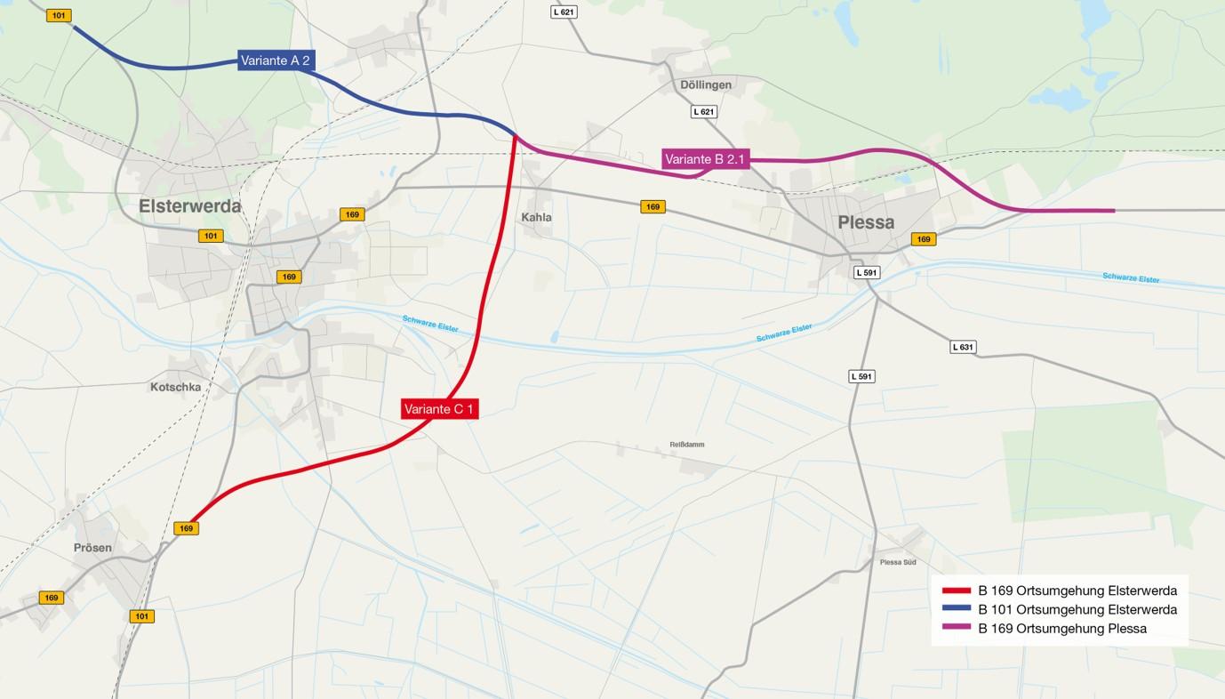 Karte mit den drei Abschnitten der Vorzugsvariante der Linienbestimmung für die Ortsumgehungen Elsterwerda und Plessa