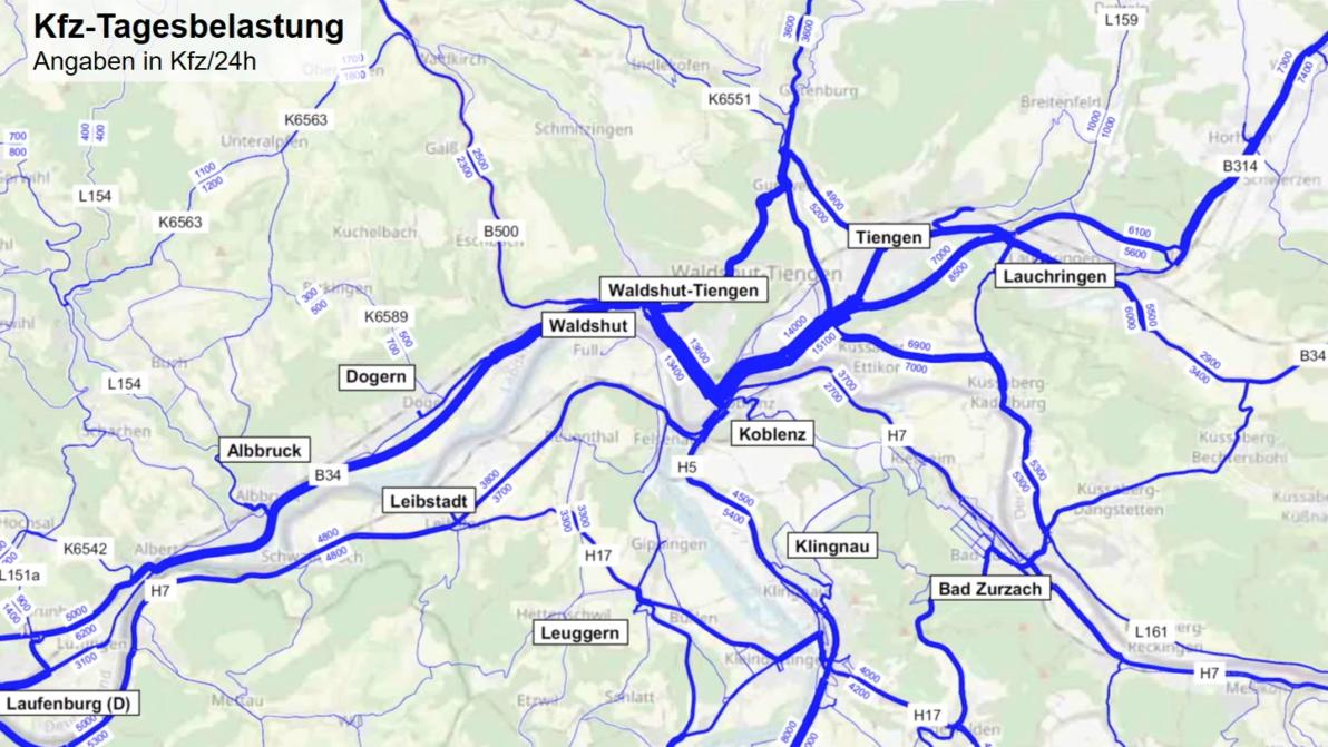 A 98 Verkehrsuntersuchung - Karte mit Straßen und grafischer Verkehrsbelastung
