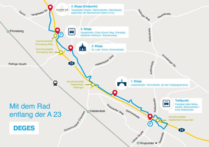 Die Route der geplanten Fahrradtour